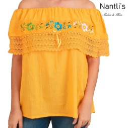 TM-77217 Yellow Blusa Campesina Bordada Mujer mayoreo wholesale Mexican Embroidered Blouse Nantlis Tradicion de Mexico