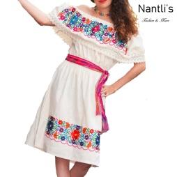 TM-77301 White Vestido Bordado chiapas de Mujer mayoreo wholesale Mexican Embroidered Womens Dress Nantlis Tradicion de Mexico