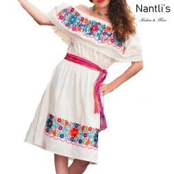 TM-77301 White Vestido Bordado chiapas de Mujer mayoreo wholesale Mexican Embroidered Womens Dress Nantlis Tradicion de Mexico