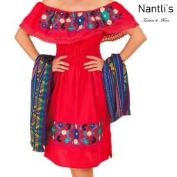 TM-77303 Red Vestido Bordado chiapas de Mujer mayoreo wholesale Mexican Embroidered Womens Dress Nantlis Tradicion de Mexico