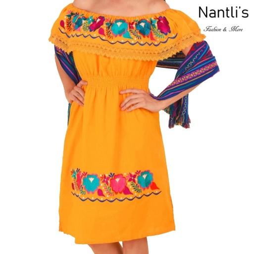 TM-77307 Yellow Vestido Bordado de Mujer Mexican mayoreo wholesale Embroidered Womens Dress Nantlis Tradicion de Mexico