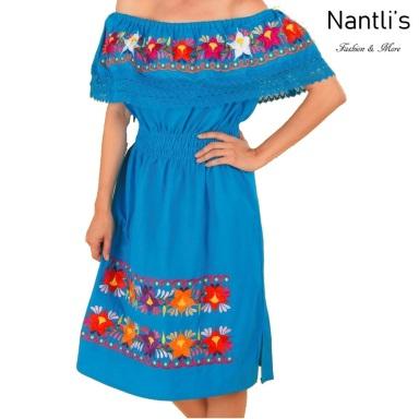 TM-77311 Blue Vestido Bordado de Mujer Mexican mayoreo wholesale Embroidered Womens Dress Nantlis Tradicion de Mexico