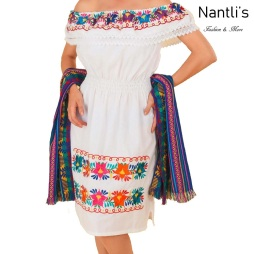 TM-77312 White Vestido Bordado de Mujer Mexican mayoreo wholesale Embroidered Womens Dress Nantlis Tradicion de Mexico