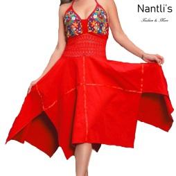 TM-77321 Vestido Bordado tipo Halter de Mujer mayoreo wholesale Mexican Embroidered Womens Dress Nantlis Tradicion de Mexico