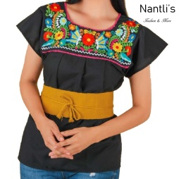 TM-77325 Black Blusa Poblana Bordada Mujer mayoreo wholesale Mexican Embroidered Blouse Nantlis Tradicion de Mexico