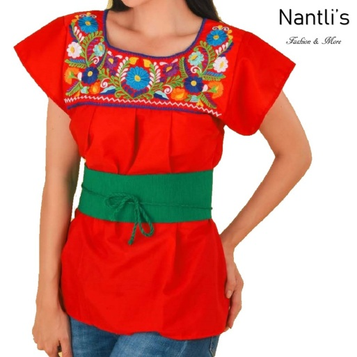 TM-77325 Red Blusa Poblana Bordada Mujer mayoreo wholesale Mexican Embroidered Blouse Nantlis Tradicion de Mexico