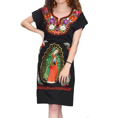 TM-77330 Black Vestido Bordado chiapas Virgen de Guadalupe de Mujer mayoreo wholesale Mexican Embroidered Womens Dress Nantlis Tradicion de Mexico