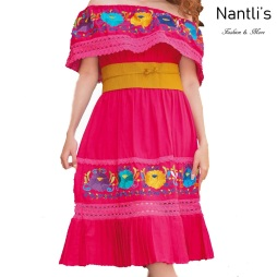 TM-77350 Pink Vestido Bordado de Mujer mayoreo wholesale Mexican Embroidered Womens Dress Nantlis Tradicion de Mexico