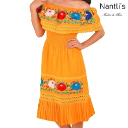 TM-77351 Yellow Vestido Bordado de Mujer mayoreo wholesale Mexican Embroidered Womens Dress Nantlis Tradicion de Mexico