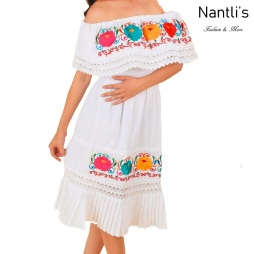 TM-77353 White Vestido Bordado de Mujer mayoreo wholesale Mexican Embroidered Womens Dress Nantlis Tradicion de Mexico