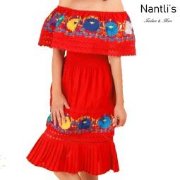 TM-77355 Red Vestido Bordado de Mujer mayoreo wholesale Mexican Embroidered Womens Dress Nantlis Tradicion de Mexico