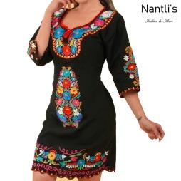 TM-77373 Black Vestido Maya Bordado de Mujer mayoreo wholesale Mexican Embroidered Womens Dress Nantlis Tradicion de Mexico