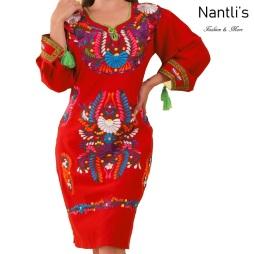 TM-77380 Red Vestido Bordado de Mujer mayoreo wholesale Mexican Embroidered Womens Dress Nantlis Tradicion de Mexico