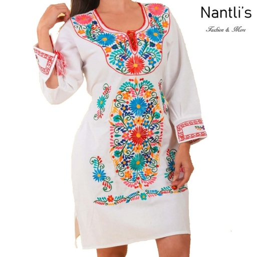 TM-77389 White Vestido Bordado de Mujer mayoreo wholesale Mexican Embroidered Womens Dress Nantlis Tradicion de Mexico