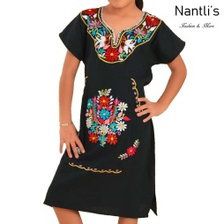 TM-77410 Black Vestido Kimonita de nina nantlis embroidered dress for girls nantlis tradicion de mexico