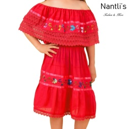 TM-77420 Red vestido campesina de manta de nina nantlis embroidered mayoreo wholesale dress for girl nantlis