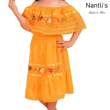 TM-77423 Yellow vestido campesina de manta de nina nantlis mayoreo wholesale embroidered dress for girl nantlis