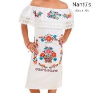 TM-77434 White Vestido Kimonita con olan de nina nantlis mayoreo wholesale embroidered dress for girls nantlis tradicion de mexico