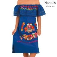 TM-77435 Royal Blue Vestido Kimonita con olan de nina mayoreo wholesale nantlis embroidered dress for girls nantlis tradicion de mexico
