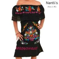 TM-77436 Black Vestido Kimonita con olan de nina nantlis mayoreo wholesale embroidered dress for girls nantlis tradicion de mexico