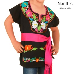 TM-77440 Black Blusa Bordada Kimona nina mayoreo wholesale Mexican Embroidered Blouse for girls Nantlis Tradicion de Mexico