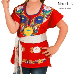 TM-77442 Red Blusa Bordada Kimona nina mayoreo wholesale Mexican Embroidered Blouse for girls Nantlis Tradicion de Mexico