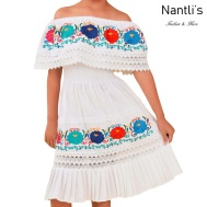 TM-77450 White Vestido Maria Bonita de nina nantlis mayoreo wholesale embroidered dress for girls nantlis tradicion de mexico