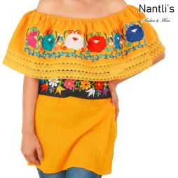 TM-77503 Yellow Blusa Campesina Bordada Mujer mayoreo wholesale Mexican Embroidered Blouse Nantlis Tradicion de Mexico