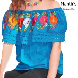 TM-77505 Baby blue Blusa Campesina Bordada Mujer mayoreo wholesale Mexican Embroidered Blouse Nantlis Tradicion de Mexico