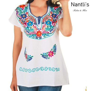 TM-77512 White Blusa Bordada Kimona Mujer mayoreo wholesale Mexican Embroidered Blouse Nantlis Tradicion de Mexico