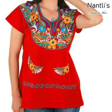 TM-77513 Red Blusa Bordada Kimona Mujer mayoreo wholesale Mexican Embroidered Blouse Nantlis Tradicion de Mexico