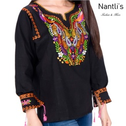 TM-77531 Black Blusa Bordada Mujer mayoreo wholesale Mexican Embroidered Blouse Nantlis Tradicion de Mexico