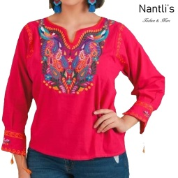 TM-77533 Pink Blusa Bordada Mujer mayoreo wholesale Mexican Embroidered Blouse Nantlis Tradicion de Mexico