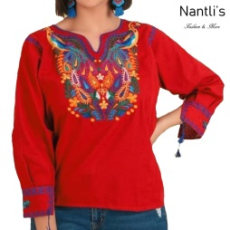 TM-77534 Red Blusa Bordada Mujer mayoreo wholesale Mexican Embroidered Blouse Nantlis Tradicion de Mexico