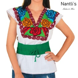 TM-77581 White Blusa Bordada Mujer mayoreo wholesale Mexican Embroidered Blouse Nantlis Tradicion de Mexico