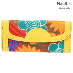 TM-41215 Carteras finas de piel bordadas para mujer Mayoreo Wholesale Fine embroidered Leather Wallets for women Nantlis Tradicion de Mexico