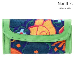 TM-41216 Carteras finas de piel bordadas para mujer Mayoreo Wholesale Fine embroidered Leather Wallets for women Nantlis Tradicion de Mexico