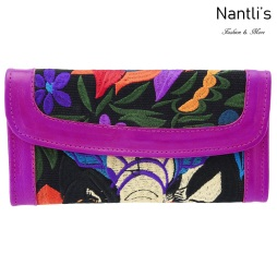 TM-41227 Carteras finas de piel bordadas para mujer Mayoreo Wholesale Fine embroidered Leather Wallets for women Nantlis Tradicion de Mexico