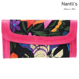 TM-41228 Carteras finas de piel bordadas para mujer Mayoreo Wholesale Fine embroidered Leather Wallets for women Nantlis Tradicion de Mexico