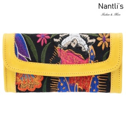 TM-41233 Carteras finas de piel bordadas para mujer Mayoreo Wholesale Fine embroidered Leather Wallets for women Nantlis Tradicion de Mexico