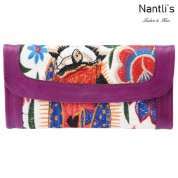 TM-41234 Carteras finas de piel bordadas para mujer Mayoreo Wholesale Fine embroidered Leather Wallets for women Nantlis Tradicion de Mexico