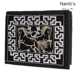 TM-41663 Carteras de piel Bordadas Mayoreo Wholesale Embroidered Leather Wallets Nantlis Tradicion de Mexico
