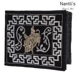 TM-41664 Carteras de piel Bordadas Mayoreo Wholesale Embroidered Leather Wallets Nantlis Tradicion de Mexico