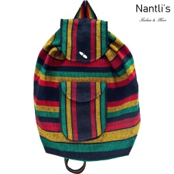 TM-74260 Mochila Mexicana Artesanal Rasta Mayoreo Wholesale Mexican Backpack Nantlis Tradicion de Mexico