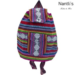 TM-74262 Mochila Mexicana Artesanal Rasta Mayoreo Wholesale Mexican Backpack Nantlis Tradicion de Mexico