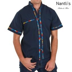 TM-78123 Camisa Bordada de hombre Mayoreo Wholesale Traditional Mexican Embroidered Shirt for men Nantlis Tradicion de Mexico