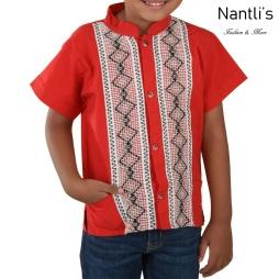 TM-78142 Camisa Bordada de nino Mayoreo Wholesale Traditional Mexican Embroidered Shirt for kids Nantlis Tradicion de Mexico
