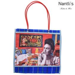 TM-90212 azul Bolsa Tradicional Mexicana Frida kahlo Mayoreo Wholesale Mexican Tote Bag Nantlis Tradicion de Mexico