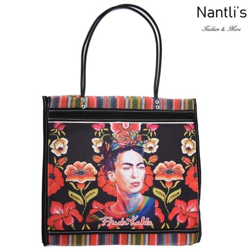 TM-90212 negra Bolsa Tradicional Mexicana Frida kahlo Mayoreo Wholesale Mexican Tote Bag Nantlis Tradicion de Mexico