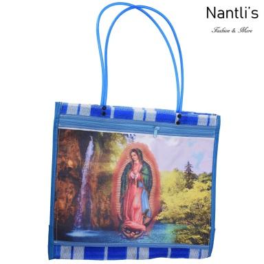 TM-90213 Azul Bolsa Tradicional Mexicana Virgen de Guadalupe Mayoreo Wholesale Mexican Tote Bag Nantlis Tradicion de Mexico